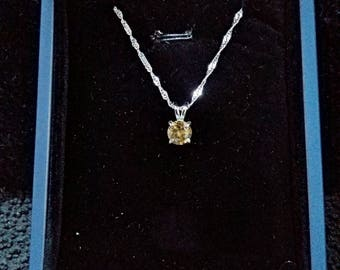 Rare Yellow Tanzanite Gemstone Solid Sterling Silver Necklace
