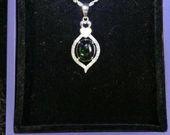 Black Opal Gemstone Solid Sterling Silver Necklace