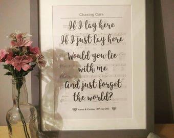 Personalised First Dance Song Lyrics - framed sheet music, framed first dance gift, custom wedding present, personalised anniversary gift