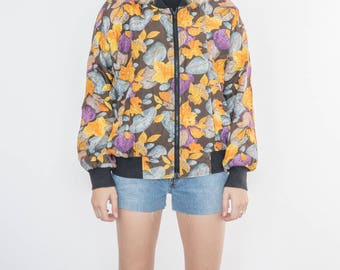 Vintage 90s Colored Leaves Bomber Jacket
