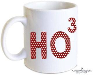 Ho to the third power Christmas mug/Adorable red polka dotted mug/Cute & clever Christmas mug/Perfect gift for teachers/Two sizes 11oz-15oz