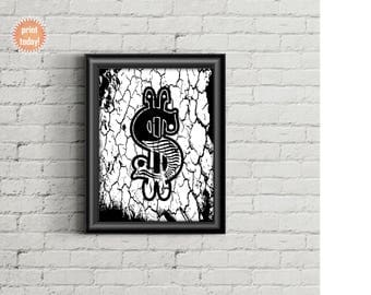 Grunge Dollar Sign Art Print