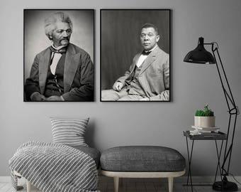 African American Art, Photography, Wall Art, Black Art, Frederick Douglas, Booker T. Washington, Black Americana