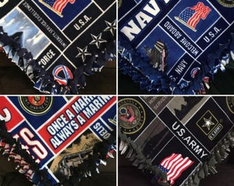 Large US Army, Navy, USMC Marines, & USAF Air Force Handmade Fleece Tie Blanket | 55x65 | Airforce | United States Army | Military