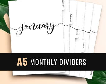 A5 Monthly Planner Dividers • Printable Tabbed Filofax Monthly Dividers A5 Monthly Planner Insert Printable Dividers A5 Monthly Tabs Filofax