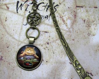 Fortune Teller Cat Bookmark, Tarot Bookmark, Cat Bookmark, Unisex Bookmark, Gift for Book Lover, Ginger Cat, Cartomancy, Divination, Tarot