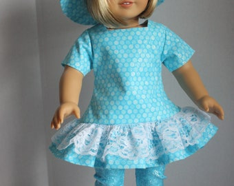Blue dress, matching hat and capris, AG Dress and Hat, Lace trimmed dress, Fits 18 inch American Girl doll