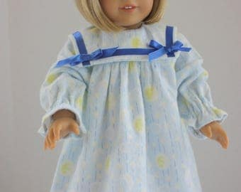 Blue flannel American Girl nightgown, American Girl, Fits 18 inch American Girl