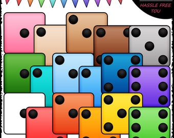 Colorful Dice Clip Art and B&W Set