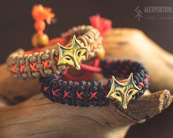 "The Chanterelle 狐 Paracord bracelet with Exclusive bronze ""Fox"""