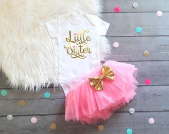 Little Sister Outfit Little Sister Shirt Little Sister Outfit Baby Shower Gift Girl Baby Girl Clothes Baby Girl Outfit Little Sister Outfit
