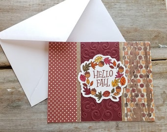 Fall Card Handmade - Hello Fall - Handmade Holiday Cards - Harvest Cards - Autumn Cards - Fall Greetings - Handmade Greeting Card