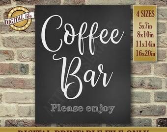 Coffee Bar, Coffee Bar Sign, Wedding Signs, Wedding Bar Sign, Please Enjoy, Chalkboard Sign, Wedding Card, Instant Printable DIGITAL FILE
