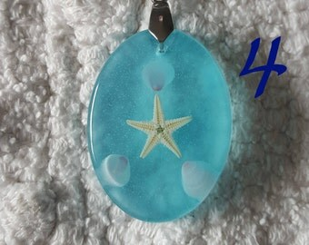Oval Starfish & Seashell Pendant | Seaside Series