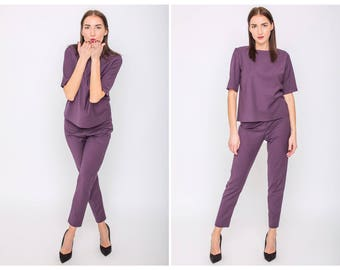 Two piece pants set for women, High waist trousers cropped, Cigarette pants, Purple women suit, Matching top and bottom, Pants suit woman