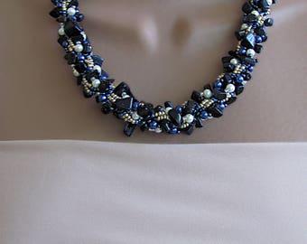 Blue goldstone necklace, goldstone necklace, dark blue necklace, goldstone beaded necklace, blue gemstone necklace, blue statement necklace