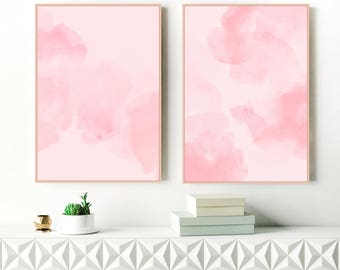 Pink Abstract Art, Pink Modern Art Prints, Watercolor Paintings, Set of Two Abstracts, Nursery Art, Large Pink Paintings, Nursery Printable