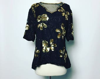 Vintage STENAY Beaded and Sequin Top