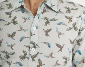 Mens 100% Cotton Long Sleeve Slim Fit Shirt Birds Parrot Blue Green Print Lightweight Material