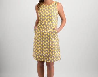 Summer Cotton Dress Grey Yellow Print with Pockets