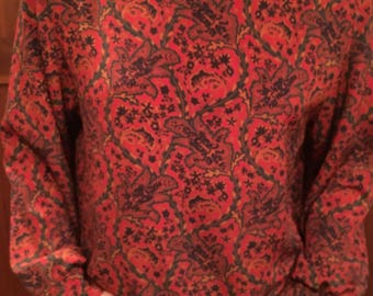 Paisley High Button Neck Flowy Blouse 80's 90's