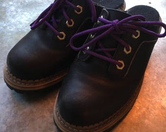 Wooden Clogs Georgia Boot Company Women's Clogs Wooden Rubber Vibram Sole Purple Laces Bolt Rivets Super Cute Size 6