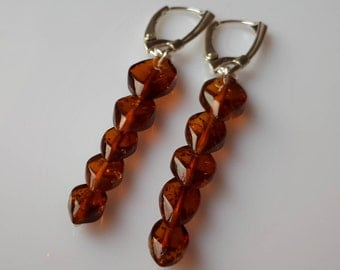 Genuine Baltic Amber Overlapping Cognac Earrings 925 Sterling Silver (004)