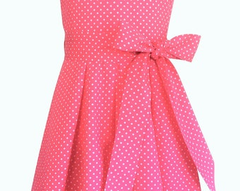 Handmade 5-6 Years Girl's Dress Salmon Coral Pink Polka Dot Cotton Sleeveless Bridesmaid Dress Party Vintage Style Gift For Girl Spotty