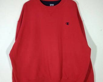Champion Red Embroidered Small Logo Crewneck Oversized Sweatshirt | Sweater | Jumper Size XL