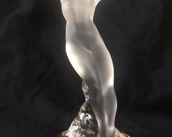 "9"" TALL Lalique Danseuse Bras Leves crystal Nude Dancer Statue with Arms Up. Model # 1190800"