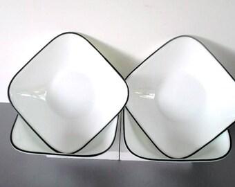 Corelle Black Trimmed Square Bowls,Set of 4 Cereal or soup bowl,Dinnerware,Salad bowl,Dessert Dish,Corelle White bowl