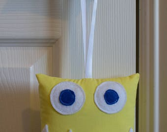 Yellow Happy Monster Tooth Fairy Pillow
