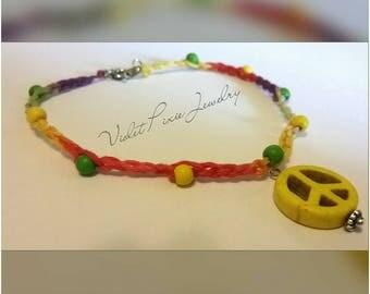 Tie dye crochet ankle bracelet