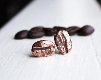 Coffee Bean Stud Earrings, Copper Electroformed, Coffee Bean, Coffee Jewelry, Everyday Stud Earrings, Handmade
