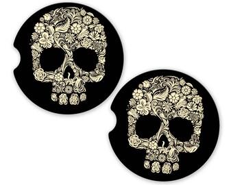 Car Coasters Sugar Skulls , Cup Holder Coaster, Floral Skulls Gift, Gift for Her