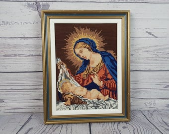 Vintage Virgin Mary Mother Framed Tapestry Needlepoint Embroidered Wall Art Hanging Religious Gift Catholic Christian Baptism Madonna