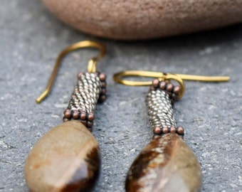 RARE Septarian Earrings- Artisan Stone Earrings-