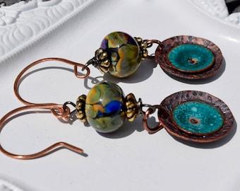 Artisan Earrings~ Copper Earrings~ Lampwork Glass Beads and Enameled Copper Earrings~ OOAK Handmade Jewelry