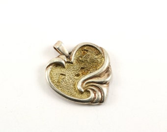 Vintage Gorham Heart Shape Inspirational Quote Pendant 925 Sterling PD 130-E