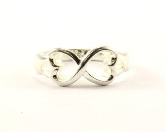 Vintage Two Heart Shape Ring 925 Sterling RG 1313