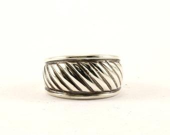 Vintage Waved Design Band Ring 925 Sterling Silver RG 2983