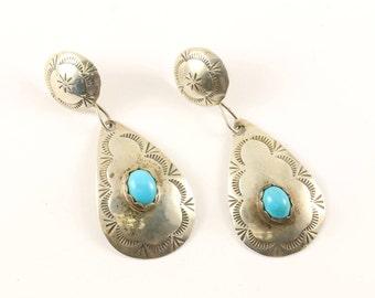 Vintage Navajo Notches Design Drop Dangle Earrings Sterling Silver ER 896