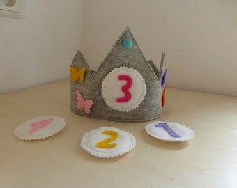 Modern waldorf inspired birthday crown grey with butterflies