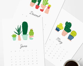 2018 Monthly Printable Calendar|Instant Download|Wall Calendar|Monthly Planner|Digital Download|Cactus Succulent Print|8x10|Christmas Gift