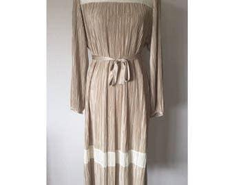 1979's Hal Ferman Champagne Accordion Pleated Tie Belt Dress // Size 12
