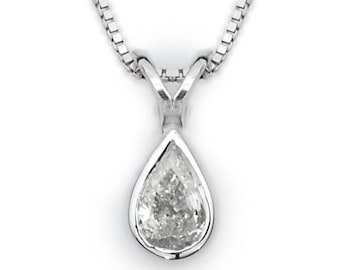 Pear Diamond Pendant With Gold Frame, Bezel Diamond Necklace, Pear Shape Diamond Necklace, Real Natural Diamond Necklace