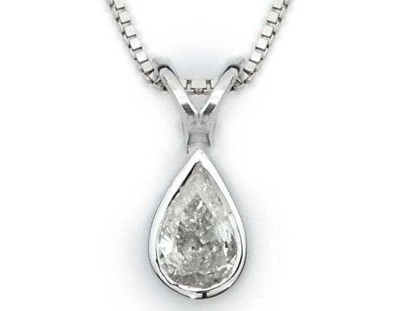 Pear bezel diamond pendant diamond pendant pear shape like this item mozeypictures Images