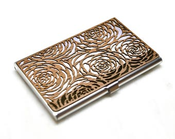 Floral business card case women -Wood business card case -Women's wallet -Wood business card holder -Credit card holder -Small womens wallet