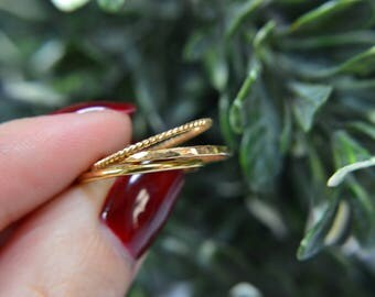 14k Gold Filled Stacking Rings - set of 3 - Dainty Stacking Rings x3