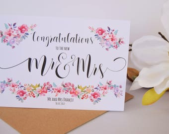 Personalised Wedding Card | Mr and Mrs | Congratulations | Mr and Mr | Wedding Day | Mrs and Mrs | Custom Wedding Card | On Your Wedding Day